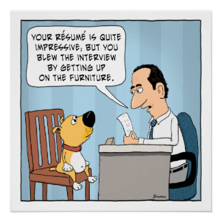 Funny Dog Blows Job Interview Poster