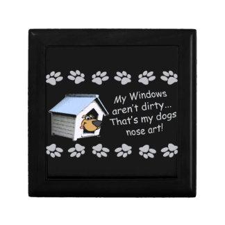 Funny Dog Cartoon - My windows aren't dirty ... Trinket Box