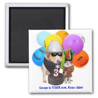 Funny Dog/Cat Western Character Birthday Magnet