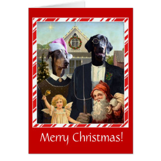 Funny dog Christmas card American Gothic spoof