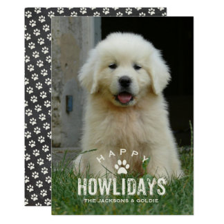 Funny Dog Christmas Holiday Howlidays Pet Photo Card