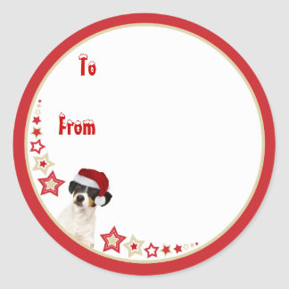Funny Dog Christmas Sticky Label