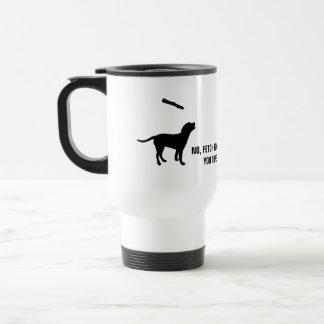 Funny dog fetch stick humor silhouette custom mug