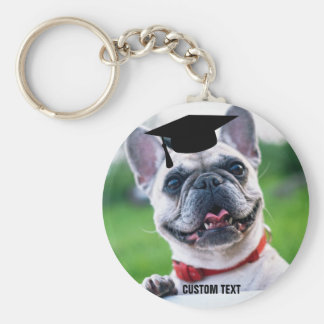 Funny Dog Graduation French BullDog Photo Keychain