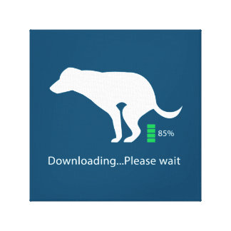 Funny dog icon Downloading Please wait, on Canvas