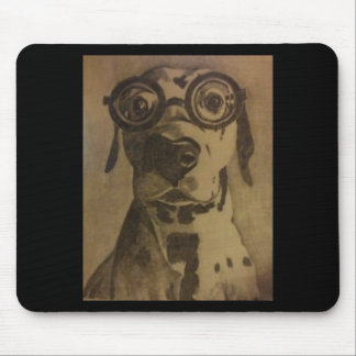 Funny Dog in Glasses Mouse Pads