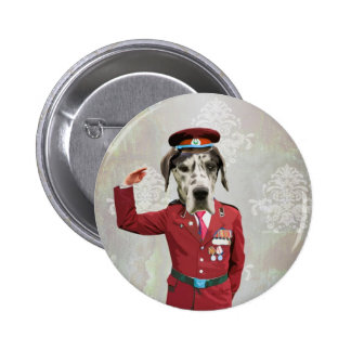Funny dog in red uniform button