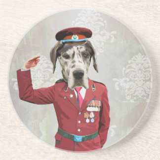 Funny dog in red uniform drink coaster