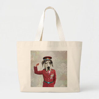 Funny dog in red uniform large tote bag