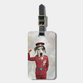 Funny dog in red uniform luggage tags