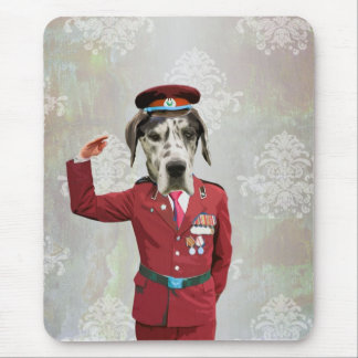 Funny dog in red uniform mouse pad