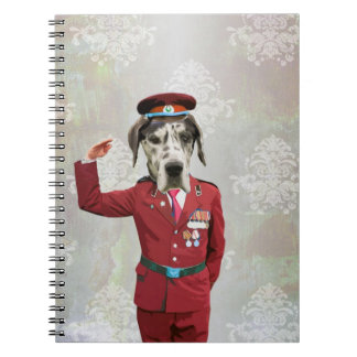 Funny dog in red uniform journals