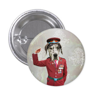 Funny dog in red uniform pinback button