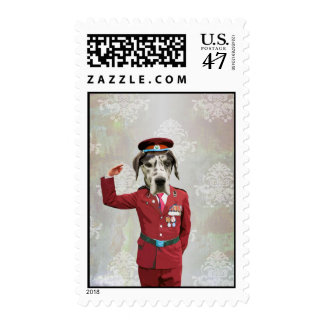 Funny dog in red uniform postage