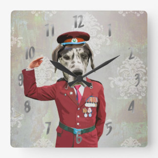 Funny dog in red uniform square wall clock