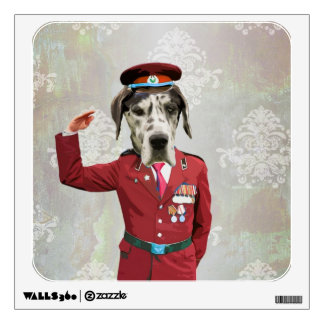 Funny dog in red uniform wall sticker