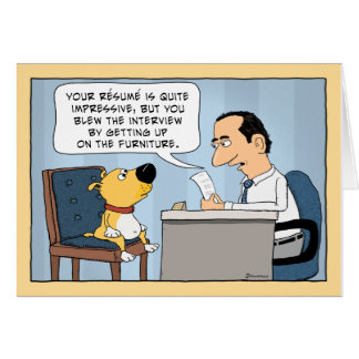 Funny Dog Job Interview Happy Birthday Card