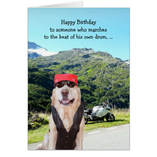 Funny Dog/Lab BIrthday for Male Biker Card