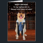 """Funny Dog/Lab Birthday for Nephew Card<br><div class=""""desc"""">Funny Lab images on a customizable card for a son, grandson or nephew. You can change the text, font, font size and color. The background picture of the night skyline is from public domain pictures and the background picture inside was from a government employee taken in the scope of duties...</div>"""