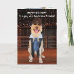 """Funny Dog/Lab Birthday for Son or Nephew Card<br><div class=""""desc"""">Funny Lab images on a customizable card for a son, grandson or nephew. You can change the text, font, font size and color. The background picture of the night skyline is from public domain pictures and the background picture inside was from a government employee taken in the scope of duties...</div>"""
