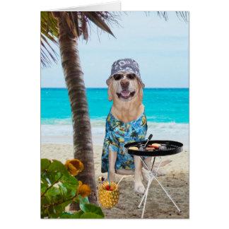 Funny Dog/Lab in Hawaiian Shirt on Beach BD Greeting Card