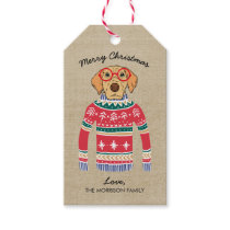 Funny Dog Lover Dog Wearing Ugly Christmas Sweater Gift Tags