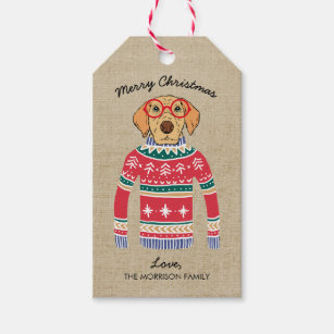 35f5ad74700b72 Funny Dog Lover Dog Wearing Ugly Christmas Sweater Gift Tags