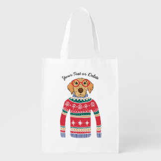 Funny Dog Lover Dog Wearing Ugly Christmas Sweater Grocery Bag