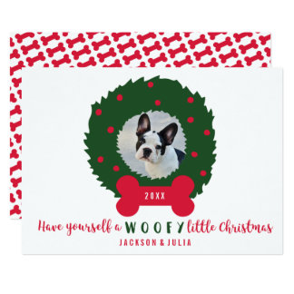 Funny Dog Lover's Christmas Wreath With Dog Photo Card