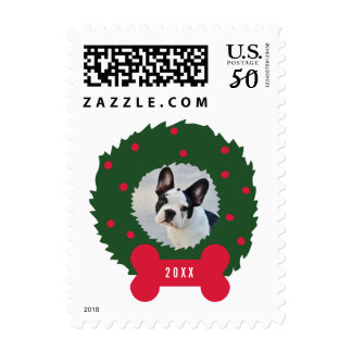 Funny Dog Lover's Christmas Wreath with Dog Photo Postage