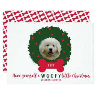 Funny Dog Lover's Christmas Wreath Your Dog Photo Card