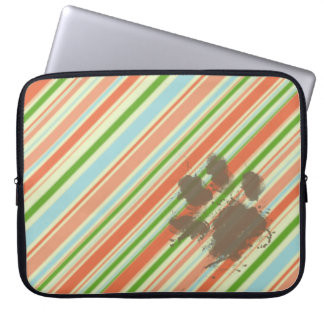 Funny Dog Owner Gift; Peach & Forest Green Computer Sleeve