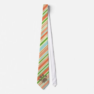 Funny Dog Owner Gift; Peach & Forest Green Tie