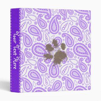 Funny Dog Owner Gift; Purple Paisley Pattern Vinyl Binder
