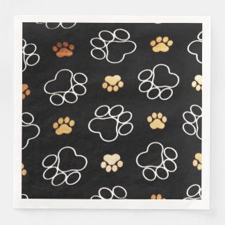 Funny Dog Pawprints On Black, Paper Napkins