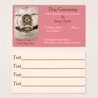 funny dog picture dog Grooming pet care services Business Card