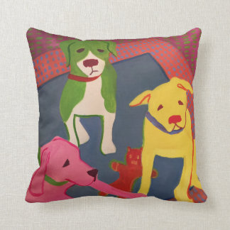 Funny Dog Pillow with Houndstooth Back