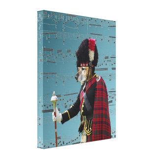 Funny dog pipe major canvas print