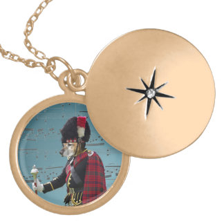 Funny dog pipe major locket necklace