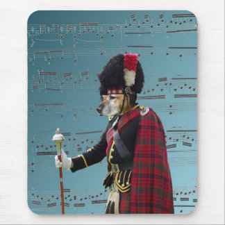 Funny dog pipe major mouse pad