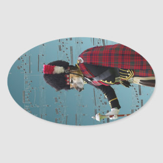Funny dog pipe major oval sticker