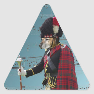 Funny dog pipe major triangle sticker