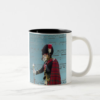 Funny dog pipe major Two-Tone coffee mug
