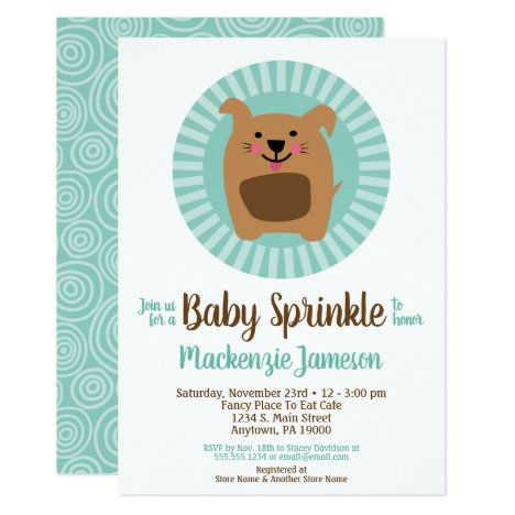 Funny Dog Puppy Baby Sprinkle Invitation Neutral