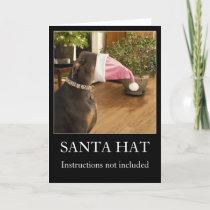 Funny dog Santa hat Christmas greeting card