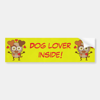 Funny dog showing hearts and feeling lucky in love bumper sticker