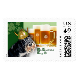 Funny Dog. St. Patrick's Day Postage Stamps