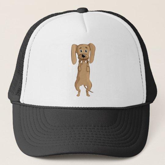 funny dog standing trucker hat