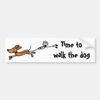 Funny Dog Walk Cartoon Original Bumper Sticker
