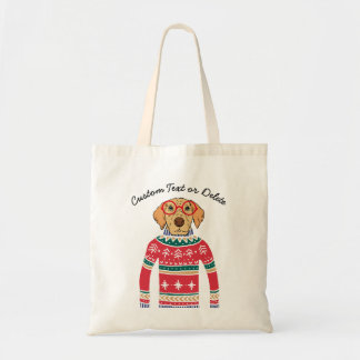 Funny Dog Wearing Glasses, Ugly Christmas Sweater Tote Bag